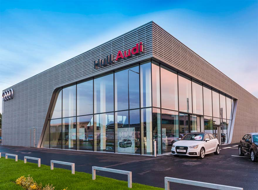 Hickton Construction cladding at Audi in Hull